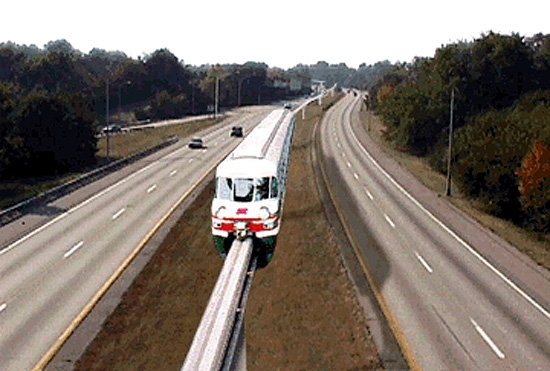 Monorail at the center median of Interstate 64 (Courtesy Scott Ritcher)