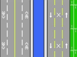 Example of a bike lane on the Second Street Bridge (BS Diagram)