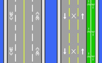 Example of a bike lane on the Second Street Bridge (BS Diagram)