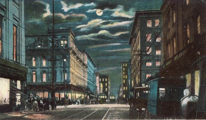 Demolished area of Fourth Street seen at night (BS File Postcard)