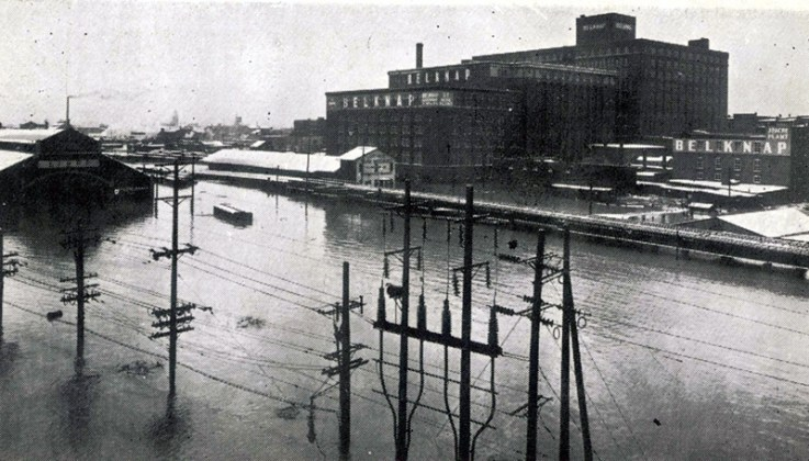 Belknap Buildings in the 1937 flood (BS File Postcard)
