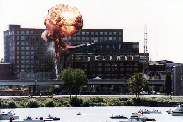Belknap Hardware buildings imploded (Courtesy SteveBillieJene / flickr)