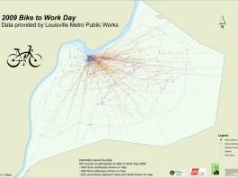 Bike to Work Day 2009 mapped (Courtesy Metro Public Works)