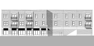 Elevation of proposed mixed-use condo building (Courtesy Miter Construction Co.)