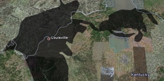 Gulf Oil Spill compared to Louisville (via Google & Rademacher)