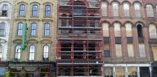 Repair work underway at 121 West Main Street (Photo courtesy tipster)