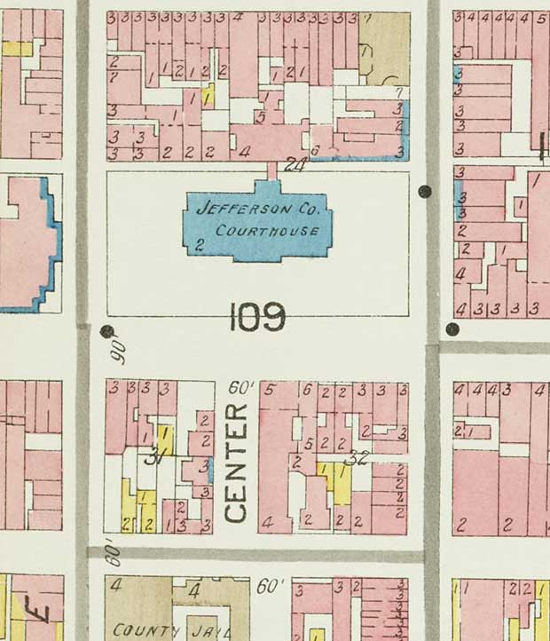 Sanborn Map showing site of the Realty Building before construction (KYVL)