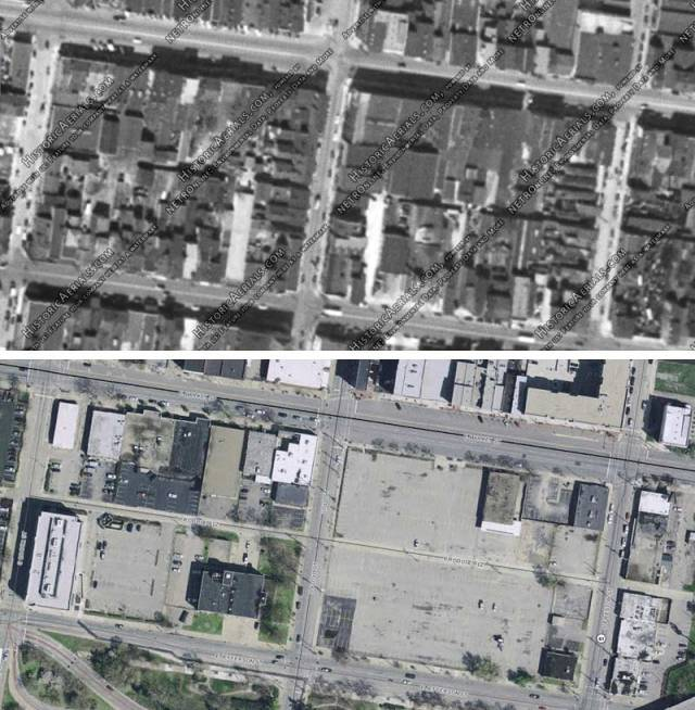 "The Nucleus ""Haymarket"" site in 1949 and today (Historic Arterials & Lojic)"