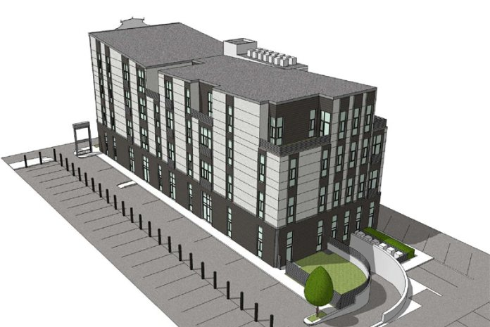 Aerial rendering of the back of the building looking southwest. (Courtesy John Gray)