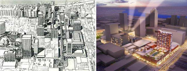 Victor Gruen's Fourth Street Scheme and Cordish's City Center.