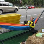 Rolf Eisinger of Bike Louisville enjoys Park(ing) Day at The Green Building. (Mary Beth Brown)