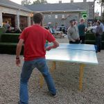Playing ping pong at the Park(ing) Day after party. (Mary Beth Brown)