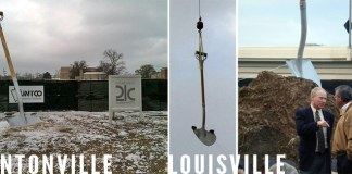 A giant shovel in Bentonville and Louisville. (Mark Cloud, left; Branden Klayko, right)