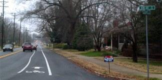 New bike lane on Goldsmith Lane. (Courtesy Bike Louisville)