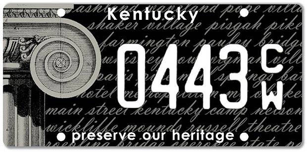 Preservation Kentucky license plate. (Courtesy PK)