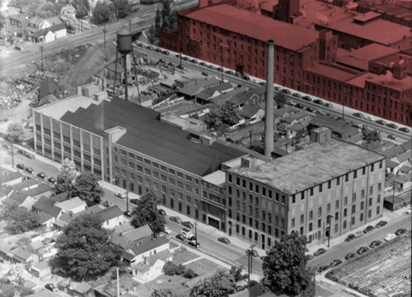 A historic view of the site in red. (UL Photo Archives)