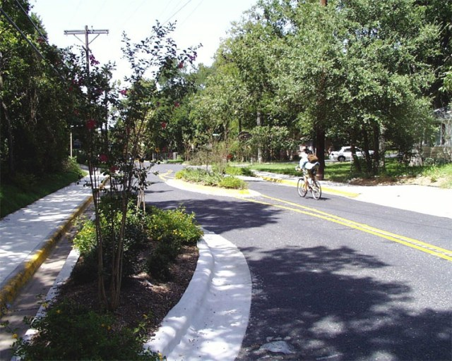 An example of chicanes from Austin, TX. (Courtesy LADOT Bike Blog)