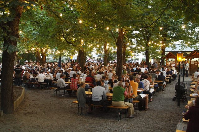 One example of a beer garden under a dense tree canopy with festive lights. (Google Images)