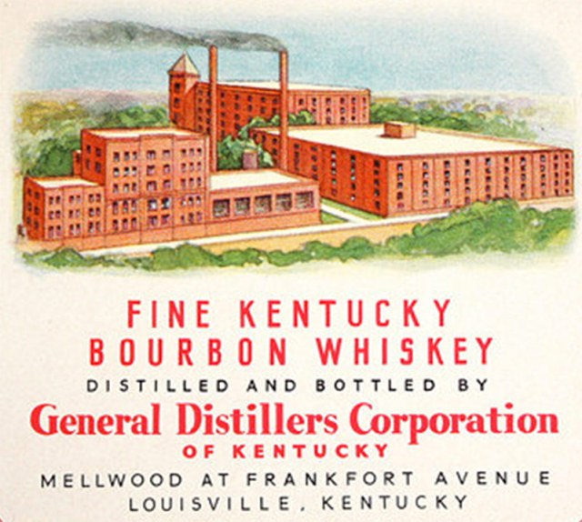 A likely dramatized view of the campus from the 1950s once it had become part of the General Distillers Corporation.