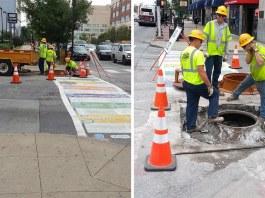 A colorful crosswalk is destroyed days after it was installed. (Elijah McKenzie / Broken Sidewalk)