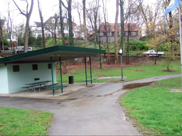 The existing restrooms and shelter in Tyler Park. (Courtesy Metro Parks)