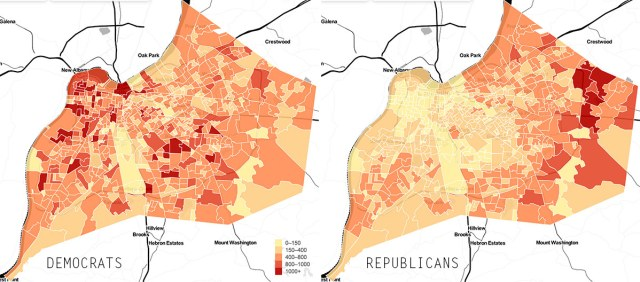 Maps showing total registered Democrats and Republicans in Louisville. (Courtesy Civic Data Alliance)