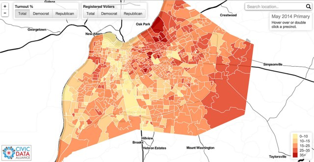 The May 2014 Primary voter turnout map. (Courtesy Civic Data Alliance)