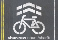 A sharrow. (Courtesy Jacksonville Bicycle Coalition)