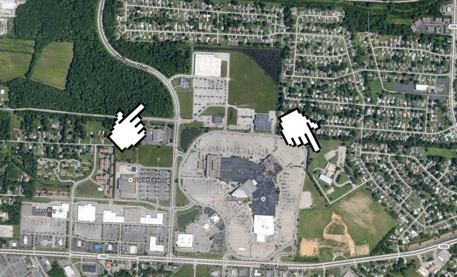 The library site, left hand, and Hartstern Elementary, right hand. (Courtesy Google)