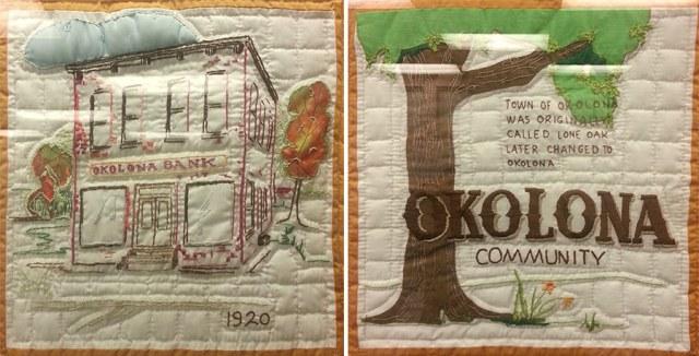 Quilts inside the Okolona Branch Library. (Elijah McKenzie / Broken Sidewalk)
