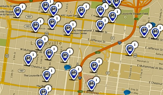The city's Suggest-a-Station map. (Courtesy Bike Louisville)