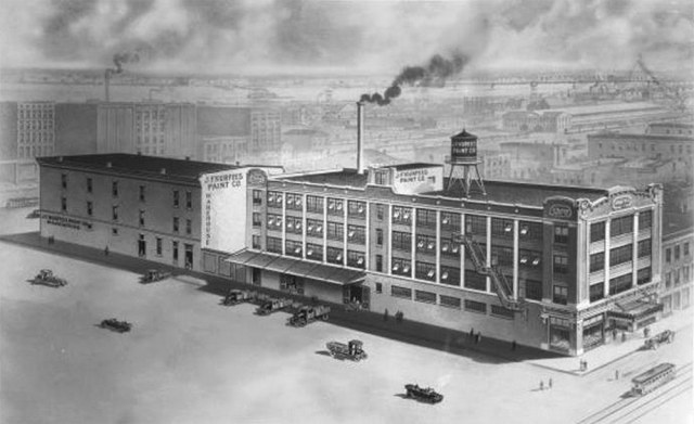 Rendering of the original Kurfees Paint building circa 1928 before it was expanded. (UL Photographic Archives - Reference URL)