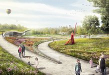 The Visitors Center at the planned Waterfront Botanical Gardens. (Courtesy Perkins + Will)