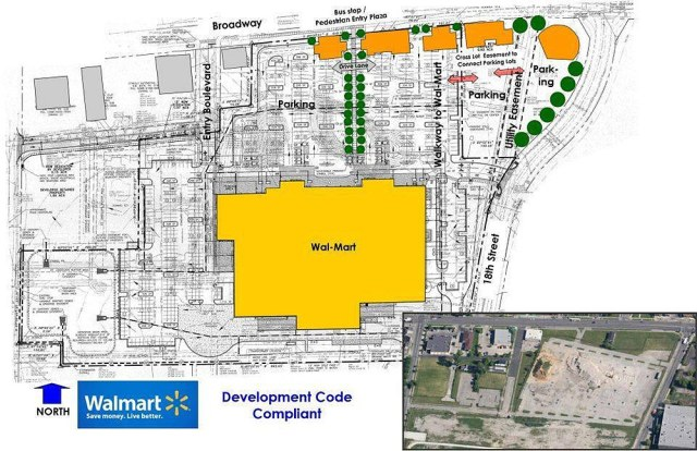 Harrington, Herron, and Taylor propose building outbuildings on the perimeter of the Walmart site to create an urban edge along Broadway.