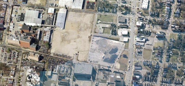 Aerial view of the West Walmart side with 18th & Broadway at the lower right corner. (Courtesy Bing)