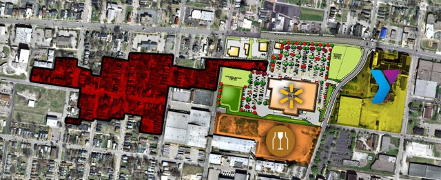 The residential area indicated in red will be razed by MSD due to frequent flooding. Also noted is the Walmart site, the portion sold to Brown-Forman, and the YMCA site. (Montage by Broken Sidewalk)