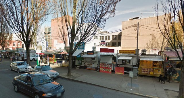 Food carts lined up along a parking lot edge in Portland, Oregon. (Courtesy Google)