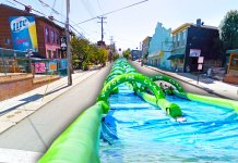 What if? We'd really like to see this slip-n-slide happen on Baxter Avenue. (Montage by Broken Sidewalk)