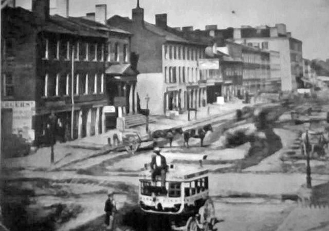 Looking east down Main Street from Third Street in 1850. (Courtesy UL Photo Archives)