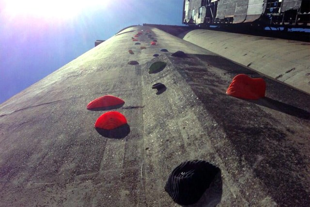 A rock climbing wall on a concrete silo in Buffalo. (Courtesy Silo City Rocks / Twitter)