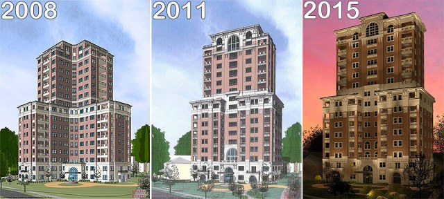The evolution of the Willow Grande tower. (Courtesy Jefferson Development Group)