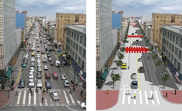 Before and after San Francisco's proposed 6th Street Improvement Project. (Courtesy People for Bikes)