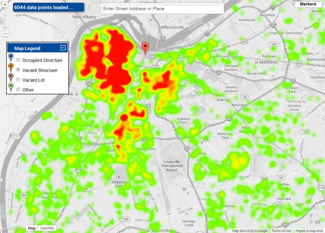 A heatmap view showing high concentrations of vacant properties in western Louisville. (Courtesy Metro Louisville)