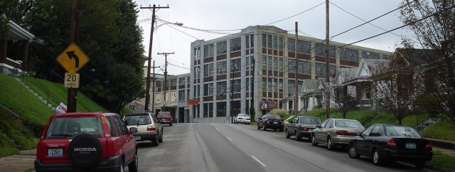 The concrete addition to the Bradford Mill complex viewed from Oak Street. (Courtesy Wikipedia)