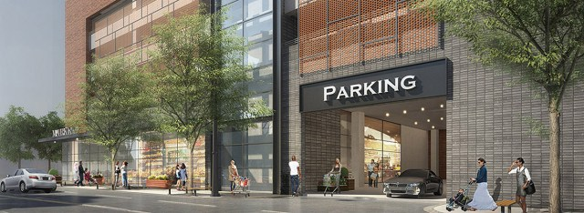 The lifestyle market and parking garage on Third Street. (Courtesy HKS)
