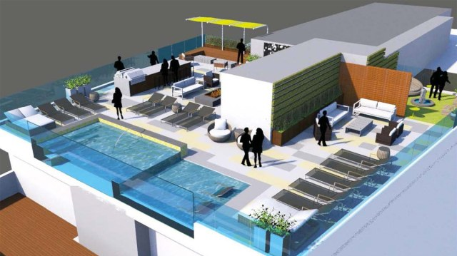"""Rendering of the planned rooftop amenity deck called the """"SkyPark."""" (Courtesy Village Green)"""