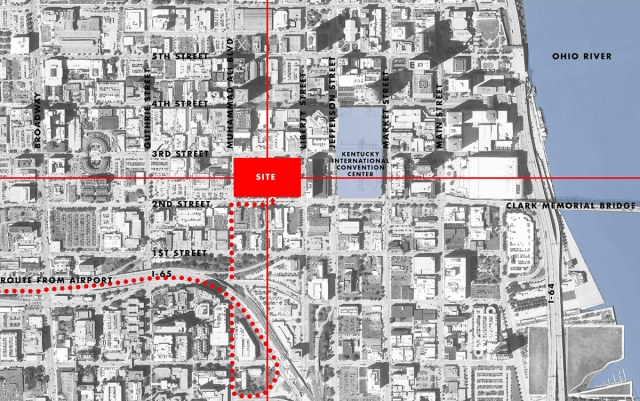 The new Omni will be located on one of Downtown Louisville's largest blocks, indicated in red. (Courtesy HKS)
