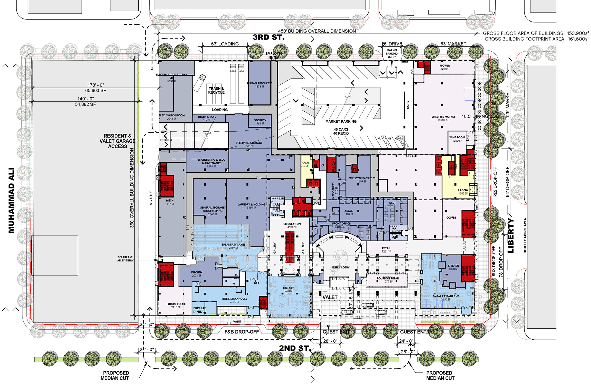 Epic Ground floor plan of the Omni Hotel showing the grey future development side on the