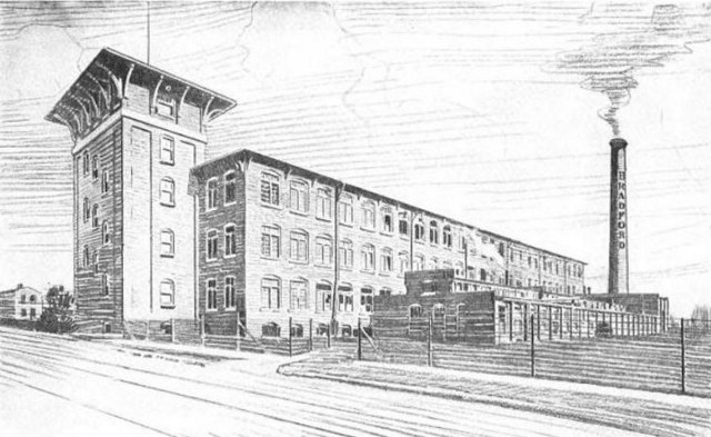 Drawing of the Bradford Mill in 1921, before its next-door addition. (Courtesy American Woolen Company)