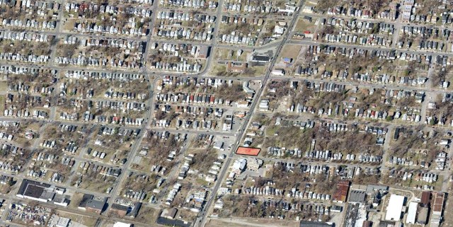 The site in red is surrounded by a dense residential neighborhood. (Courtesy Bing)